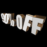 90 percent off 3d letters on black background. 90 percent off letters on black background. 3d render isolated stock illustration