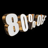 80 percent off 3d letters on black background. 80 percent off letters on black background. 3d render isolated Royalty Free Stock Photography