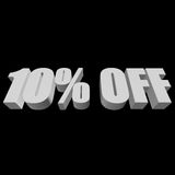 10 percent off 3d letters on black background. 10 percent off letters on black background. 3d render isolated Stock Photography