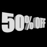 50 percent off 3d letters on black background. 50 percent off letters on black background. 3d render isolated Royalty Free Illustration