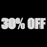 30 percent off 3d letters on black background. 30 percent off letters on black background. 3d render isolated Stock Image