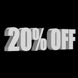 20 percent off 3d letters on black background. 20 percent off letters on black background. 3d render isolated Stock Photos