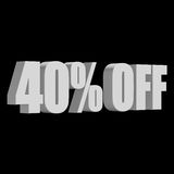 40 percent off 3d letters on black background Stock Photography