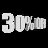 30 percent off 3d letters on black background. 30 percent off letters on black background. 3d render isolated Stock Photography
