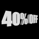 40 percent off 3d letters on black background Royalty Free Stock Images