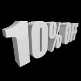 10 percent off 3d letters on black background. 10 percent off letters on black background. 3d render isolated Stock Image