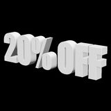 20 percent off 3d letters on black background. 20 percent off letters on black background. 3d render isolated Stock Image