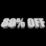 80 percent off 3d letters on black background. 80 percent off letters on black background. 3d render isolated Stock Photography
