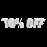 70 percent off 3d letters on black background Stock Images