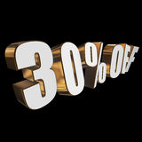 30 percent off 3d letters on black background. 30 percent off letters on black background. 3d render isolated Stock Photo