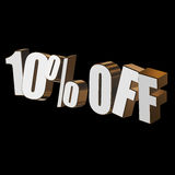 10 percent off 3d letters on black background. 10 percent off letters on black background. 3d render isolated Stock Photo