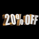 20 percent off 3d letters on black background. 20 percent off letters on black background. 3d render isolated Royalty Free Stock Image
