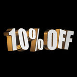 10 percent off 3d letters on black background. 10 percent off letters on black background. 3d render isolated Royalty Free Stock Image