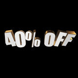 40 percent off 3d letters on black background Royalty Free Stock Image