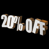 20 percent off 3d letters on black background. 20 percent off letters on black background. 3d render isolated Royalty Free Stock Photo