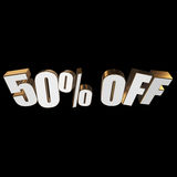 50 percent off 3d letters on black background. 50 percent off letters on black background. 3d render isolated Royalty Free Stock Images