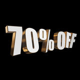 70 percent off 3d letters on black background. 70 percent off letters on black background. 3d render isolated Stock Photos