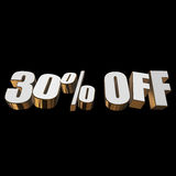 30 percent off 3d letters on black background. 30 percent off letters on black background. 3d render isolated Royalty Free Stock Photos