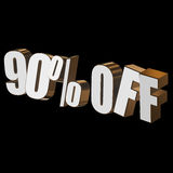 90 percent off 3d letters on black background. 90 percent off letters on black background. 3d render isolated royalty free illustration