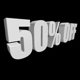 50 percent off 3d letters on black background. 50 percent off letters on black background. 3d render isolated Stock Illustration