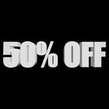 50 percent off 3d letters on black background. 50 percent off letters on black background. 3d render isolated Stock Photos