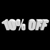 10 percent off 3d letters on black background. 10 percent off letters on black background. 3d render isolated Royalty Free Stock Images
