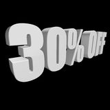 30 percent off 3d letters on black background. 30 percent off letters on black background. 3d render isolated Royalty Free Stock Photo