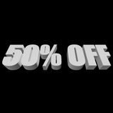 50 percent off 3d letters on black background. 50 percent off letters on black background. 3d render isolated Royalty Free Stock Image