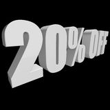 20 percent off 3d letters on black background. 20 percent off letters on black background. 3d render isolated Stock Photography