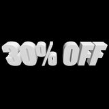 30 percent off 3d letters on black background. 30 percent off letters on black background. 3d render isolated Stock Images