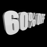 60 percent off 3d letters on black background. 60 percent off letters on black background. 3d render isolated royalty free illustration