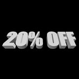 20 percent off 3d letters on black background. 20 percent off letters on black background. 3d render isolated Stock Images