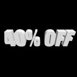 40 percent off 3d letters on black background. 40 percent off letters on black background. 3d render isolated Stock Photo