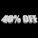 40 percent off 3d letters on black background. 40 percent off letters on black background. 3d render isolated Stock Images