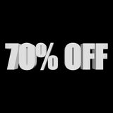 70 percent off 3d letters on black background Stock Photography