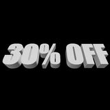 30 percent off 3d letters on black background Royalty Free Stock Images