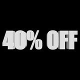 40 percent off 3d letters on black background. 40 percent off letters on black background. 3d render isolated Stock Image