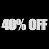 40 percent off 3d letters on black background. 40 percent off letters on black background. 3d render isolated royalty free illustration