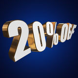 20 percent off 3d letters on blue background. 20 percent off letters on blue background. 3d render Stock Image