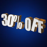 30 percent off 3d letters on blue background. 30 percent off letters on blue background. 3d render Stock Images