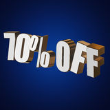 70 percent off 3d letters on blue background. 70 percent off letters on blue background. 3d render Stock Photo