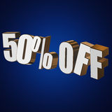 50 percent off 3d letters on blue background. 50 percent off letters on blue background. 3d render Stock Photography