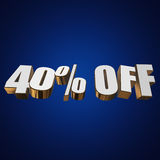 40 percent off 3d letters on blue background. 40 percent off letters on blue background. 3d render stock illustration