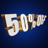 50 percent off 3d letters on blue background Royalty Free Stock Image