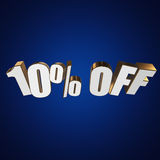 10 percent off 3d letters on blue background. 10 percent off letters on blue background. 3d render Royalty Free Stock Photo
