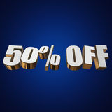 50 percent off 3d letters on blue background Stock Images