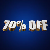 70 percent off 3d letters on blue background. 70 percent off letters on blue background. 3d render Stock Photography