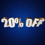 20 percent off 3d letters on blue background. 20 percent off letters on blue background. 3d render Stock Photography
