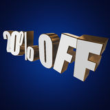 20 percent off 3d letters on blue background. 20 percent off letters on blue background. 3d render Stock Images
