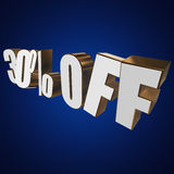 30 percent off 3d letters on blue background. 30 percent off letters on blue background. 3d render Stock Photo